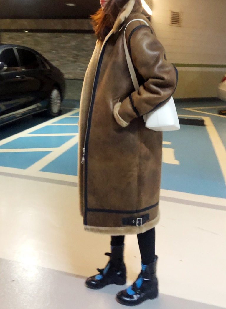 [Kor] Faux Shering Coat - Brown