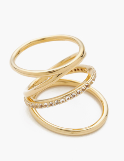 [Elizabeth and James] 22K Gold Plate Mondrian Pave Ring
