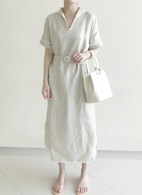 [KOR] Linnen Sailer Dress - Beige