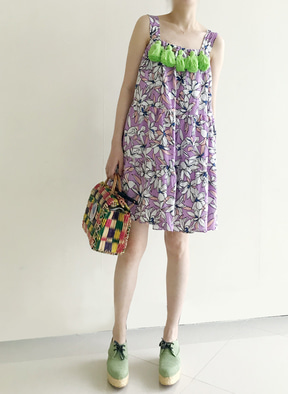 [KOR] Flower Printing Tassle Tunic Dress -Light Purple