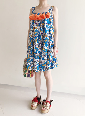 [KOR] Flower Printing Tassle Tunic Dress -Blue