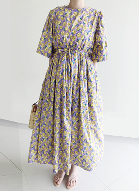 [Kor] Flower Printing Dress - Purple