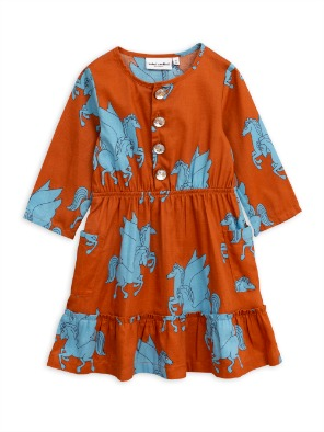 [Mini Rodini] 미니로디니 정품 Pre Spring Pegasus flounce dress / Brown 2주배송