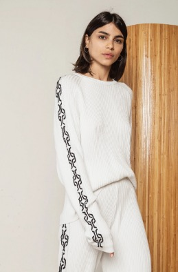 [RAGDOLL]19 FW CHAIN KNIT TOP White 바로배송 세일!!