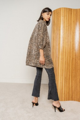 [RAGDOLL]19 FW SUPER OVERSIZED SWEATSHIRT Brown Leopard